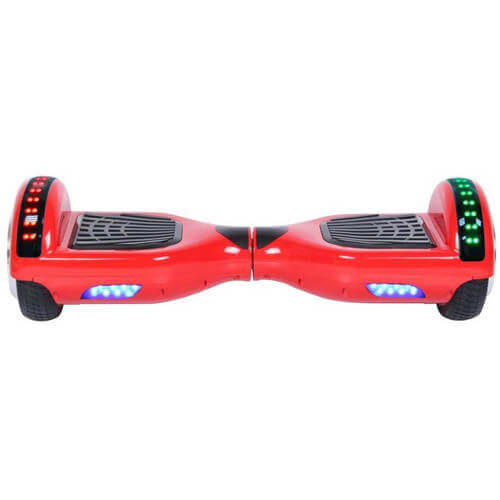 small red hoverboard with led